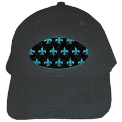 Royal1 Black Marble & Turquoise Glitter Black Cap by trendistuff