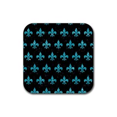 Royal1 Black Marble & Turquoise Glitter Rubber Square Coaster (4 Pack)  by trendistuff
