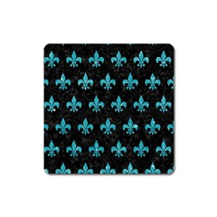 Royal1 Black Marble & Turquoise Glitter Square Magnet by trendistuff
