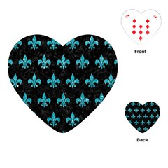 Royal1 Black Marble & Turquoise Glitter Playing Cards (heart)  by trendistuff
