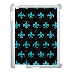 Royal1 Black Marble & Turquoise Glitter Apple Ipad 3/4 Case (white) by trendistuff
