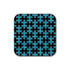 Puzzle1 Black Marble & Turquoise Glitter Rubber Square Coaster (4 Pack)  by trendistuff