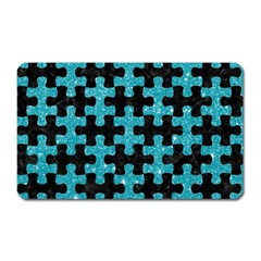 Puzzle1 Black Marble & Turquoise Glitter Magnet (rectangular) by trendistuff