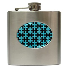 Puzzle1 Black Marble & Turquoise Glitter Hip Flask (6 Oz) by trendistuff