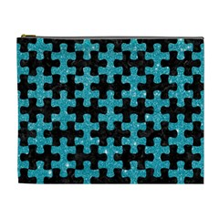 Puzzle1 Black Marble & Turquoise Glitter Cosmetic Bag (xl) by trendistuff