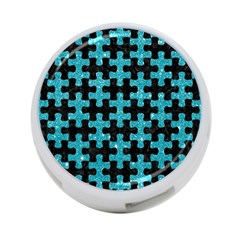 Puzzle1 Black Marble & Turquoise Glitter 4 Port Usb Hub (two Sides)  by trendistuff