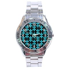 Puzzle1 Black Marble & Turquoise Glitter Stainless Steel Analogue Watch by trendistuff
