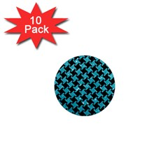 Houndstooth2 Black Marble & Turquoise Glitter 1  Mini Magnet (10 Pack)  by trendistuff