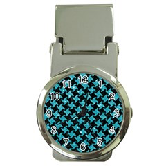 Houndstooth2 Black Marble & Turquoise Glitter Money Clip Watches by trendistuff