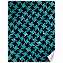 Houndstooth2 Black Marble & Turquoise Glitter Canvas 12  X 16   by trendistuff