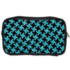 Houndstooth2 Black Marble & Turquoise Glitter Toiletries Bags by trendistuff