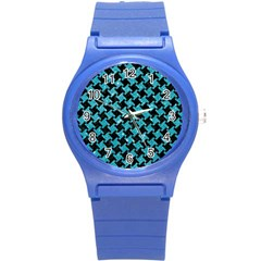 Houndstooth2 Black Marble & Turquoise Glitter Round Plastic Sport Watch (s) by trendistuff
