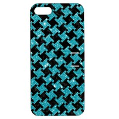 Houndstooth2 Black Marble & Turquoise Glitter Apple Iphone 5 Hardshell Case With Stand by trendistuff