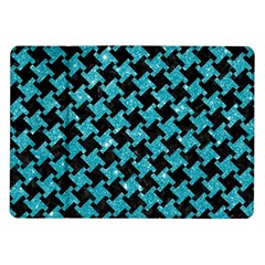 Houndstooth2 Black Marble & Turquoise Glitter Samsung Galaxy Tab 10 1  P7500 Flip Case by trendistuff