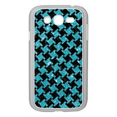 Houndstooth2 Black Marble & Turquoise Glitter Samsung Galaxy Grand Duos I9082 Case (white) by trendistuff