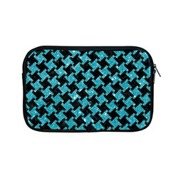 Houndstooth2 Black Marble & Turquoise Glitter Apple Macbook Pro 13  Zipper Case by trendistuff
