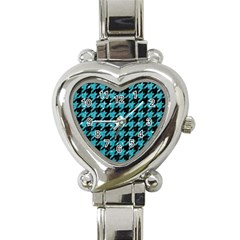 Houndstooth1 Black Marble & Turquoise Glitter Heart Italian Charm Watch by trendistuff