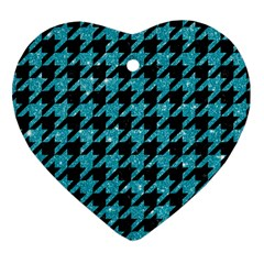 Houndstooth1 Black Marble & Turquoise Glitter Heart Ornament (two Sides) by trendistuff