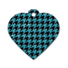 Houndstooth1 Black Marble & Turquoise Glitter Dog Tag Heart (one Side) by trendistuff