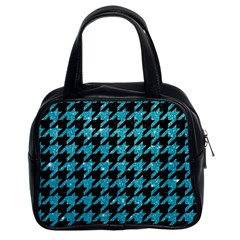 Houndstooth1 Black Marble & Turquoise Glitter Classic Handbags (2 Sides) by trendistuff