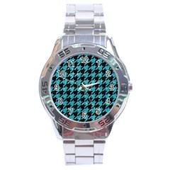 Houndstooth1 Black Marble & Turquoise Glitter Stainless Steel Analogue Watch by trendistuff