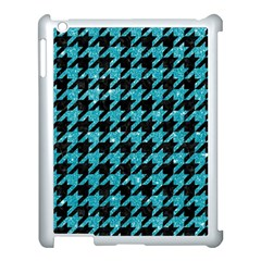 Houndstooth1 Black Marble & Turquoise Glitter Apple Ipad 3/4 Case (white) by trendistuff