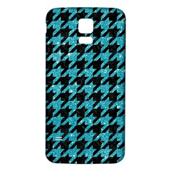 Houndstooth1 Black Marble & Turquoise Glitter Samsung Galaxy S5 Back Case (white) by trendistuff