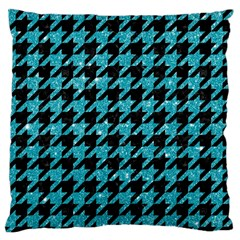 Houndstooth1 Black Marble & Turquoise Glitter Standard Flano Cushion Case (two Sides) by trendistuff