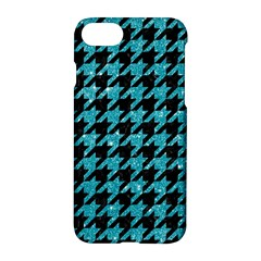 Houndstooth1 Black Marble & Turquoise Glitter Apple Iphone 7 Hardshell Case