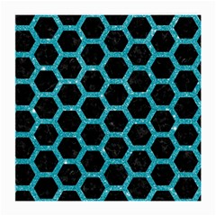 Hexagon2 Black Marble & Turquoise Glitter (r) Medium Glasses Cloth (2 Side) by trendistuff