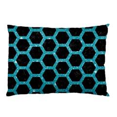 Hexagon2 Black Marble & Turquoise Glitter (r) Pillow Case