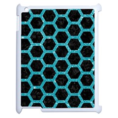 Hexagon2 Black Marble & Turquoise Glitter (r) Apple Ipad 2 Case (white) by trendistuff