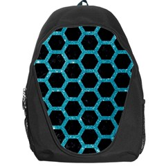 Hexagon2 Black Marble & Turquoise Glitter (r) Backpack Bag by trendistuff