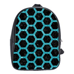 Hexagon2 Black Marble & Turquoise Glitter (r) School Bag (xl) by trendistuff