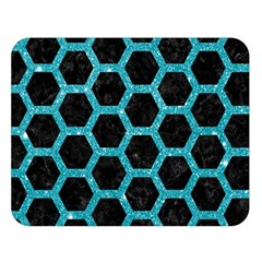 Hexagon2 Black Marble & Turquoise Glitter (r) Double Sided Flano Blanket (large)  by trendistuff