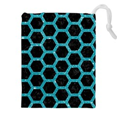 Hexagon2 Black Marble & Turquoise Glitter (r) Drawstring Pouches (xxl) by trendistuff