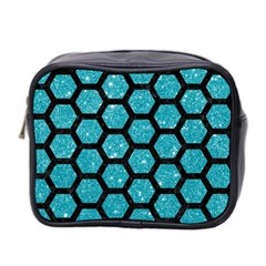 Hexagon2 Black Marble & Turquoise Glitter Mini Toiletries Bag 2 Side by trendistuff