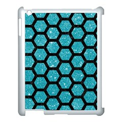 Hexagon2 Black Marble & Turquoise Glitter Apple Ipad 3/4 Case (white) by trendistuff