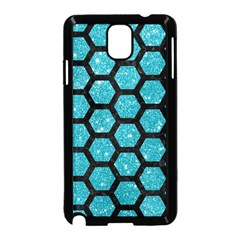 Hexagon2 Black Marble & Turquoise Glitter Samsung Galaxy Note 3 Neo Hardshell Case (black)