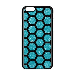 Hexagon2 Black Marble & Turquoise Glitter Apple Iphone 6/6s Black Enamel Case by trendistuff