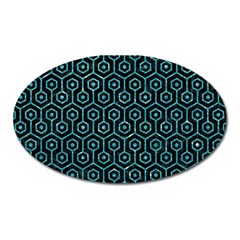 Hexagon1 Black Marble & Turquoise Glitter (r) Oval Magnet by trendistuff