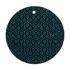 Hexagon1 Black Marble & Turquoise Glitter (r) Round Ornament (two Sides) by trendistuff