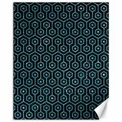 Hexagon1 Black Marble & Turquoise Glitter (r) Canvas 11  X 14   by trendistuff
