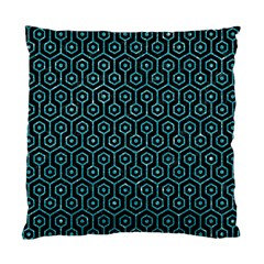 Hexagon1 Black Marble & Turquoise Glitter (r) Standard Cushion Case (one Side) by trendistuff