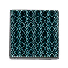 Hexagon1 Black Marble & Turquoise Glitter (r) Memory Card Reader (square) by trendistuff