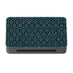 Hexagon1 Black Marble & Turquoise Glitter (r) Memory Card Reader With Cf by trendistuff