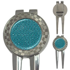 Hexagon1 Black Marble & Turquoise Glitter 3 In 1 Golf Divots by trendistuff