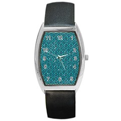 Hexagon1 Black Marble & Turquoise Glitter Barrel Style Metal Watch by trendistuff