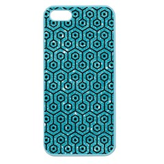 Hexagon1 Black Marble & Turquoise Glitter Apple Seamless Iphone 5 Case (color) by trendistuff