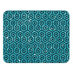 Hexagon1 Black Marble & Turquoise Glitter Double Sided Flano Blanket (large)